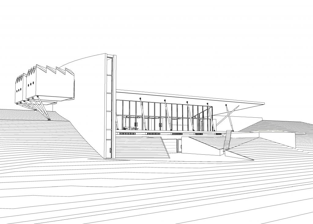 Huis in de duinen_render_20170126 - 3D View - 3D View Exterior 1 (hidden line)